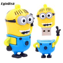 Exquisite Hands Up Small Yellow USB Flash Drive 8G 16G 32G 64G 4G Pen Drive, Despicable Me Creative Cartoon Disk Memory Stick(China)