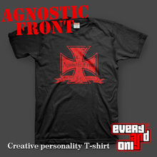 Agnostic front Band ironcrosssmal 100% Cotton short-sleeve T-shirt tee t