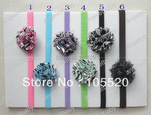 "20pcs 2"" Petite Satin zebra  Mesh Silk Flowers Charlotte Tulle with DIY sewing skinny headband stretchy soft nylon Hair bands"
