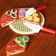 Pizza Party House Toys Food Simulation Tableware For Children Pretend Play Toys With Tableware Size 21cm(China)