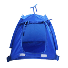 JHO-Pet Kitten Cat Puppy Dog Mini Nylon Camp Tent Bed Play House Blue-S