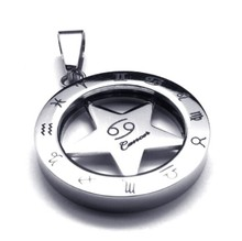 Vintage 316L Stainless Steel 25MM Round Circle Star Zodiac Cancer Pendant necklace Jewelry with bead chains