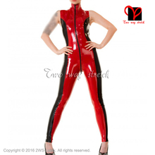 Buy BLack Red Sexy Latex Catsuit front Zipper Short sleeves Rubber bodysuit Jumpsuit overall zentai tights body suit LT-098