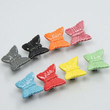 8 Colors Butterfly Knobs Ceramic decorative Dresser Drawer Knobs Unique Cabinet Wardrobe Knobs furniture cupboard pull handle