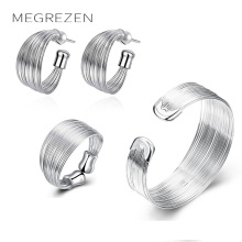 MEGREZEN Bridal Silver Jewelry Sets For Women Silver Earrings Bracelets Rings Costume Jewellery Sets Parure Bijoux Femme S312-5