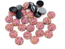 New New New! 40pcs/Lot 12mm Rose Gold AB Colors Gradient colors Flat back Resin Cabochons Fit 12mm Cameo Base Cabochons F3-79(China)