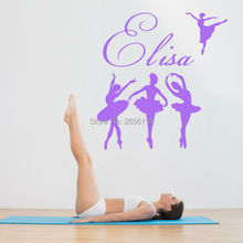 Personalized Girls Name Ballerinas Mural Vinyl Wall Decal Stickers for Kids Room Nursery Dancing Room Decor