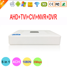 XMeye 4 Channel 4 CH 1080N Mini 5 in 1 Coaxial Hybrid TVi CVI IP NVR AHD DVR For 1080P Surveillance Camera Free Shipping