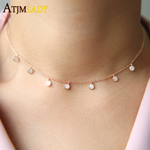 New 925 sterling silver pave cz tiny cute disco drip drop fashion rose gold jewelry choker charm necklace(China)