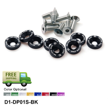 D1 Spec 8 Pcs M6 x 20 Engine Bumpers Fender Washers Bolt Screw Black Fit For Honda Civic EK EP AP DC2 DC5 EP-DP01S-D1-FS