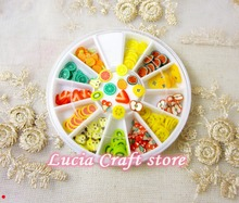 6cm Polymer Clay fruit Nail Art decoration Nail patch Accessories Fruit Slices Polymer Clay Tiny Fimo Wheel 1box/lot 083004031