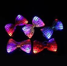 6pcs/lot Led Luminous Neck Tie Mixcolor Flashing Male Female Fashion Bow Tie Party wedding Dancing Stage Glowing Tie