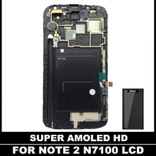 For Samsung Galaxy Note2 Note 2 N7100 100% Tested Working Super AMOLED LCD Screen Display With Frame Digitizer Assembly(China)