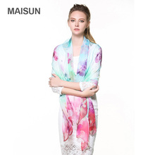 [MAISUN] Floral Pattern Women Shawl 100% Silk Extra Large Scarf Fashion Chinoiserie Spring And Autumn Silk Scarves(China)