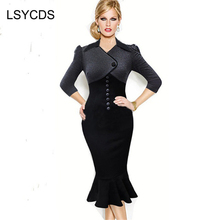 Sexy Women's Elegant Vintage Colorblock Mermaid Dress Wear To Work Party Black Bodycon Cocktail Pencil Sheath Dress