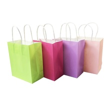 1 Pcs/lot Natural Kraft Paper Bag With Handle Environment Protection Bag Candy Color Multi-function Textured Gift Bags 15*18*8cm