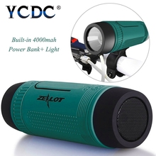 YCDC Speaker Outdoor 4000mAh Power Bank Bicycle Portable Subwoofer Bass Speaker LED light Support TF card