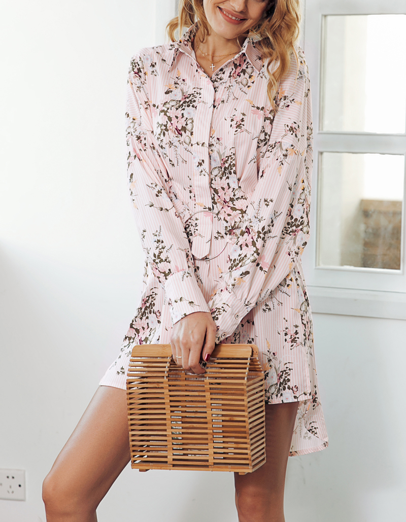 Floral Print Long Shirt / Mini Dress Women Streetwear Sash T Shirt (Us 4-12)
