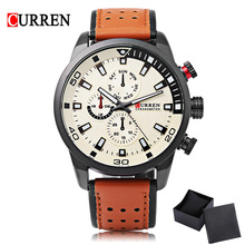 CURREN 8250 Sport Men Quartz Watch Fashion Simple Relogio Masculino Men Military Watches Genuine Leather Clock Men Wristwatch