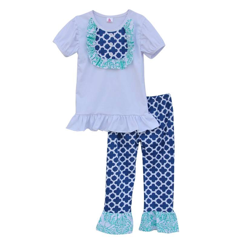 2016 New Design Girls Boutique Clothing Set Summer Style Lovely Short-sleeved White Top Geometric Pattern Ruffle Pants Sets S050<br><br>Aliexpress