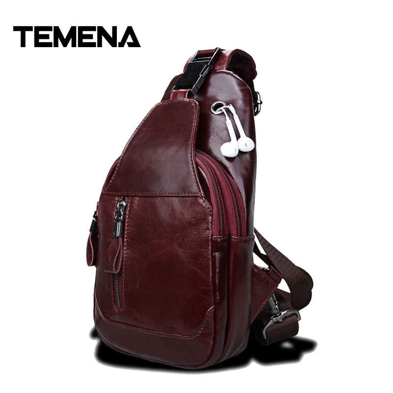 Temena 2018 New Genuine Leather Men Shoulder Bag Casual Cowhide Leather Mens Crossbody Bags Travel Chest Pack Men Bags AMB489<br>
