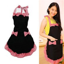 Women Bowknot Chic Cute Flirty Bib Apron Dress Kitchen Cooking Apron with Pocket Gift 3 Colors AA(China)