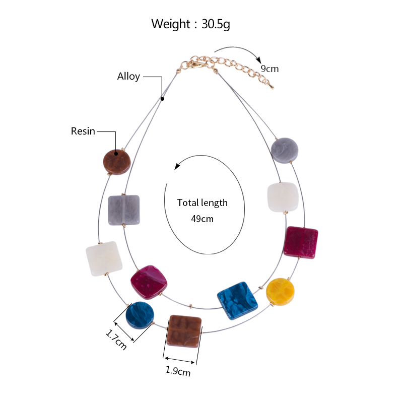 Classic Fashion Acrylic Necklaces for Women With Colorful Resin Geometric Pendants Metal Long Chains Necklaces Party New Jewelry (5)