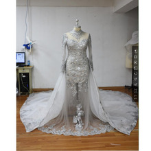 Luxury Dubai Sexy Mermaid Wedding Dresses With Royal Overskirt 2 Pieces Lace Pearls Sheer Arabic Bridal Gowns Full Sleeves 2017