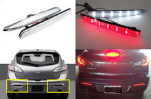 2X CLEAR Lens LED Bumper Reflector Tail Brake Light 10-13 For Mazda3 Axela Sport