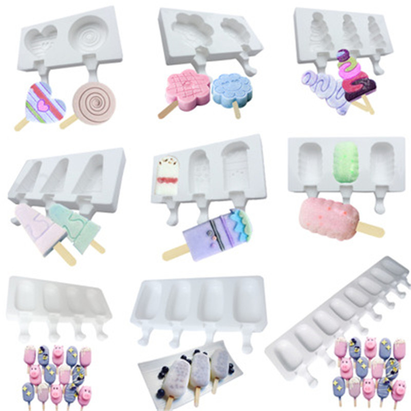 Ice Cream Tools 2 even 3 home ice cream mousse ice cream silicone mold popsicle popsicle silicone mold 2019 summer 9 shape AprO1 (2)