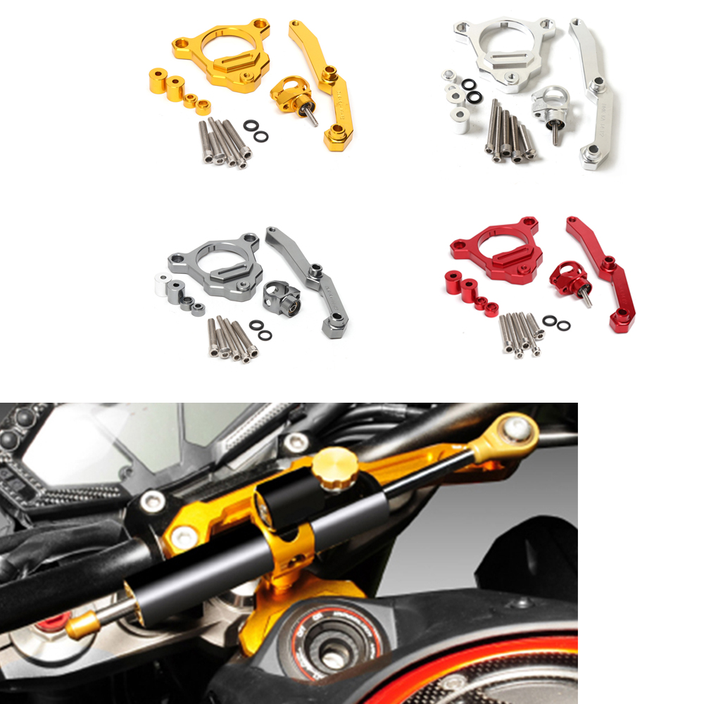 Motorycle CNC Aluminum Racing Motorcycle Steering Damper With Bracket Set For Kawasaki Z800 2013-2015 Silver/Titanium/Red/Gold<br>
