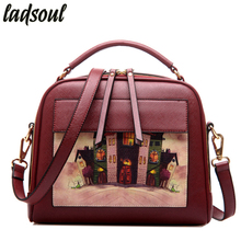 Ladsoul Women Bag Handbag PU Leather Women Leather Handbag Casual Oil Picture Pattern Women Shoulder Bag Female Tote ls8235/g(China)