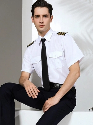 Autumn Summer Classical Airplane male Captain uniform man Long Shirt Sleeve shirt men Stage Cosplay Slim costume shirts