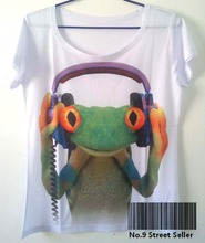 Track Ship+Vintage Retro Cool Rock&Roll Punk T-shirt Top Tee Green Frog with Headphone Listen Music 0086(Hong Kong)