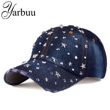 [YARBUU]Baseball Caps new fashion hat caps sunshading men and women's baseball cap rhinestone hat denim and cotton snapback cap(China)