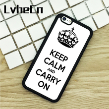 LvheCn TPU Phone Cases For iPhone 6 6S 7 8 Plus X 5 5S 5C SE 4 4S ipod touch 4 5 6 Cover Keep Calm And Carry On(China)