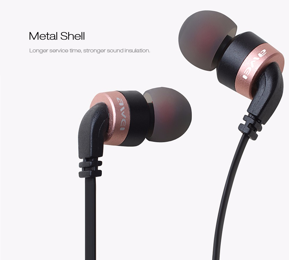 Awei ES – 30TY 3.5mm Jack Wired Earphone HiFi Stereo Strong Deep Bass Headset with Mic for Mobile Phone Support Hands-free Calls