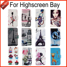 Fashion Hot Sale Book Flip Cute Protective Cover Skin Patterns PU Phone Leather Case For Highscreen Bay With Card Holder