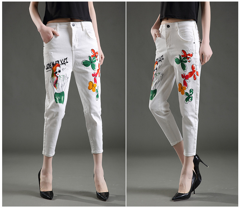 Slim jeans for womens mid waist print casual loose Female Cotton harem pants capris Stretch Denim trousers calca jeans feminino
