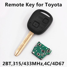 Car Remote Key for Toyota Camry Prado Corolla Keyless Entry Fob Vehicle Key TOY43 Blade 4C/4D67 Chip 315MHz/433MHz