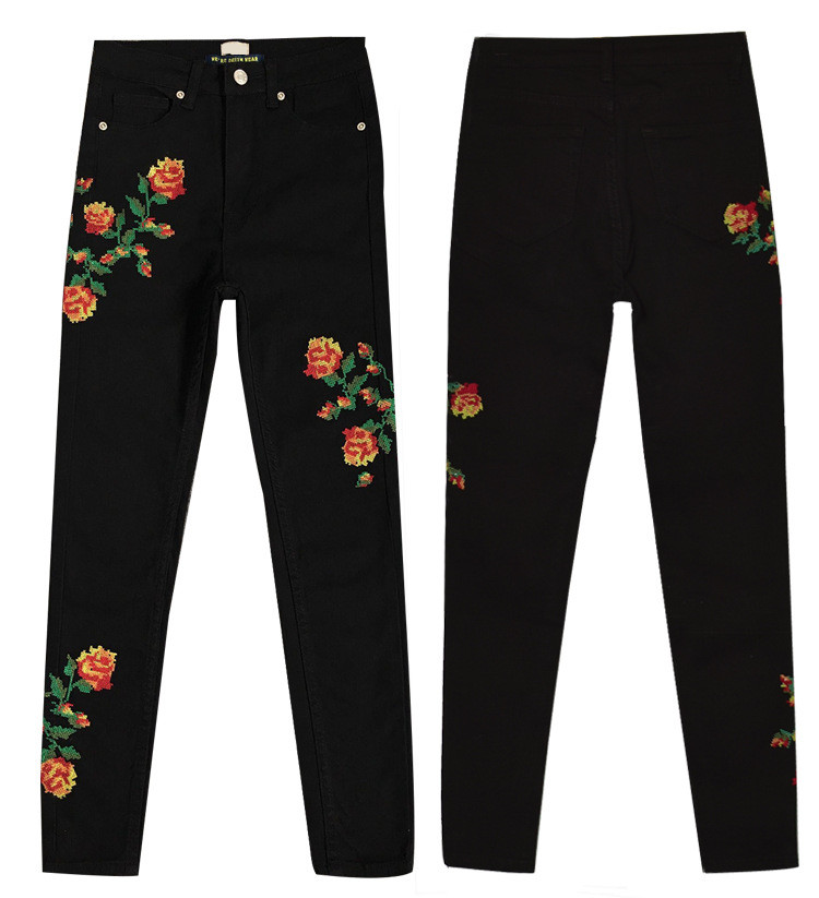 Hot Sexy High Waist Denim Stretchy Black Jeans Embroidery Rose Fashion Skinny Full Length Bodycon Tight Women Pencil Jeans Femme (5)