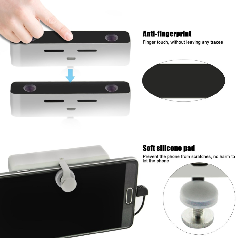 Mini Micro USB HD Dual Lens Virtual Reality 3D VR Video Camera Portable 3D VR BOX External Camera for Android Mobile Phone s5 s6