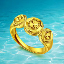 Jewelry Palace Real Plated 24k Gold Ring Fine Jewelry for Women Style Elegant Flower Ring Girlfriend's Birthday Gift