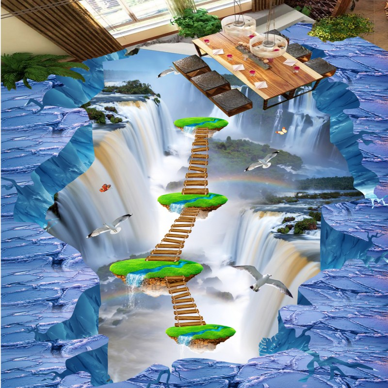 Free Shipping 3D Glacier Waterfall Flying Bird Sea Bathroom Kitchen Walkway 3D Floor waterproof bedroom lobby flooring mural<br>