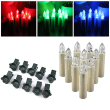 10pcs Electronic Flameless Candle Lamp 12 Colors Wireless RGB Remote Control LED Candles Lights For Wedding Christmas Tree Decor(China)