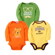 3PCS Baby Bodysuits Cotton Toddler Boy Jumpsuit Newborn Clothes Long Sleeve Infant Winter Baby Bodysuit Set Ropa Kids Clothes(China)