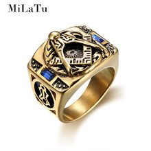 MiLaTu Exclusive Blue Glass Stone Masonic Rings Stainless Steel A G Free-Mason Rings Men Jewelry Gift US Size 7 to 15 R728G(China)