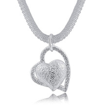 N270 Free shipping Popular Beautiful fashion Elegant silver plated charm Mesh chain retro HEART pretty Lady Necklace jewelry