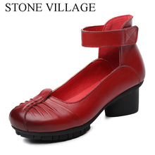 100% Genuine Leather Shoes Woman Spring And Autumn Cow Leater Ankle Strap High Heel Mother Shoes Vintage Ladies Shoes Red Black