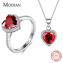 Modian Genuine Solid 925 Sterling Silver Hearts Sets Jewelry Red Ring  Necklace Wedding Crystal Pendant Fashion Chain For Women 03bbedb99f5f
